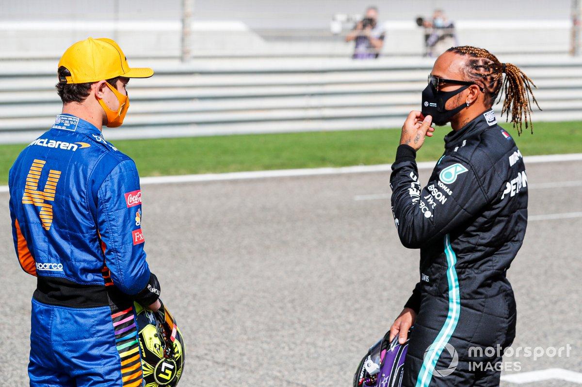 Lewis Hamilton, Mercedes and Lando Norris, McLaren
