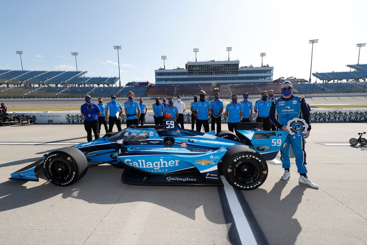 Conor Daly with the Carlin Chevrolet crew after taking the team's first IndyCar pole at Iowa last year.
