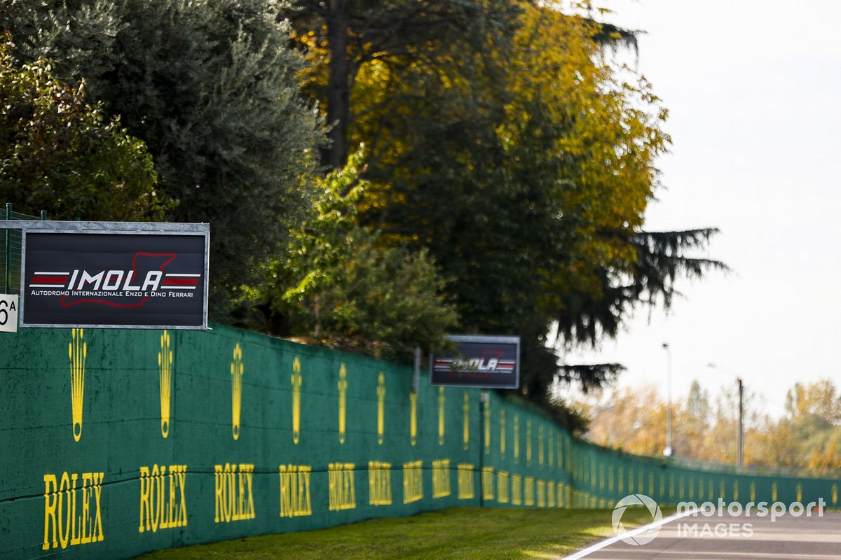 Imola and sponsor signage by the side of the track