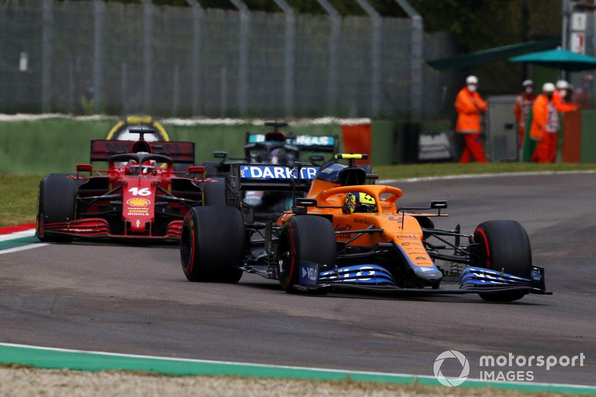 Lando Norris, McLaren MCL35M, Charles Leclerc, Ferrari SF21, and Lewis Hamilton, Mercedes W12