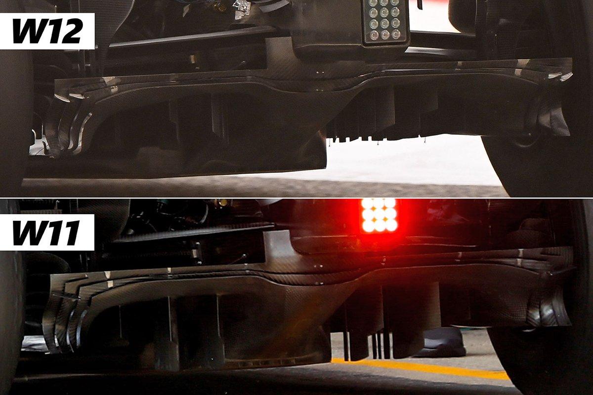 Mercedes W12 and Mercedes W11 diffuser comparison