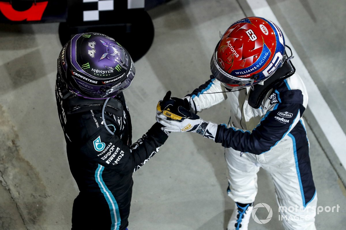 Race winner Lewis Hamilton, Mercedes celebrates in Parc Ferme with George Russell, Williams