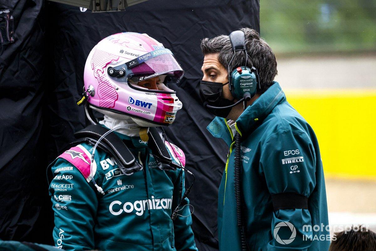 Sebastian Vettel, Aston Martin, on the grid
