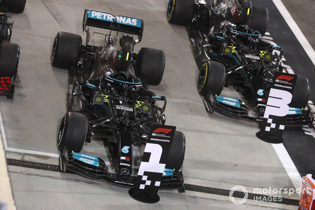 The cars of Lewis Hamilton, Mercedes W12, 1st position, and Valtteri Bottas, Mercedes W12, 3rd position, in Parc Ferme