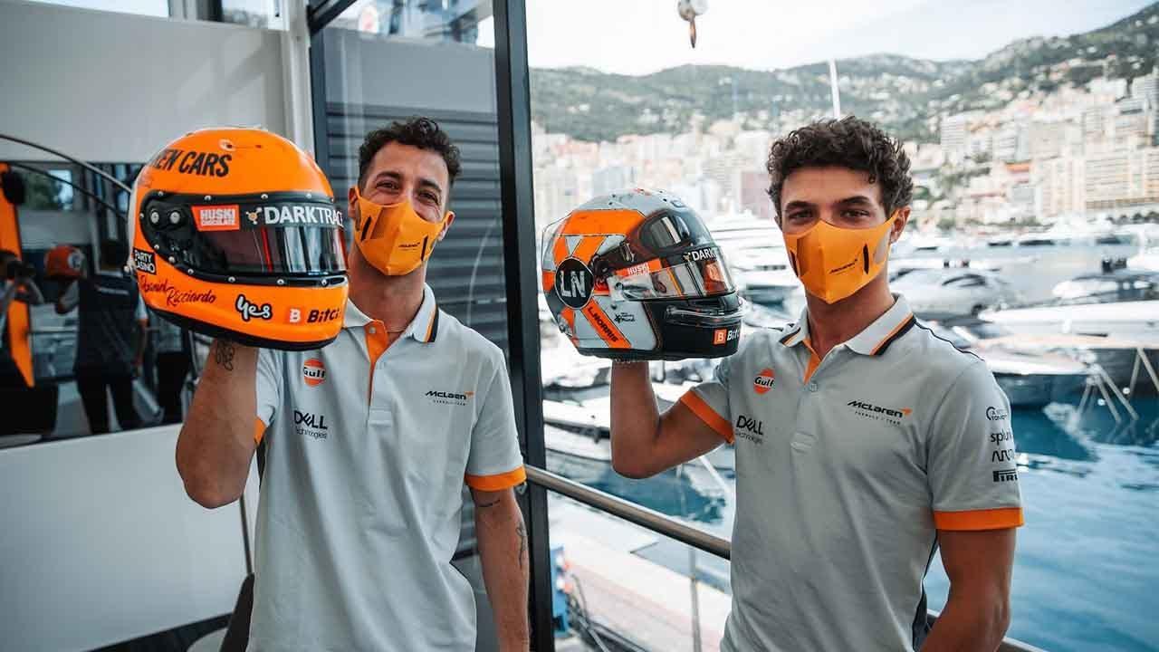Lando Norris and Daniel Ricciardo reveal their Gulf-inspired helmets - Motor Informed