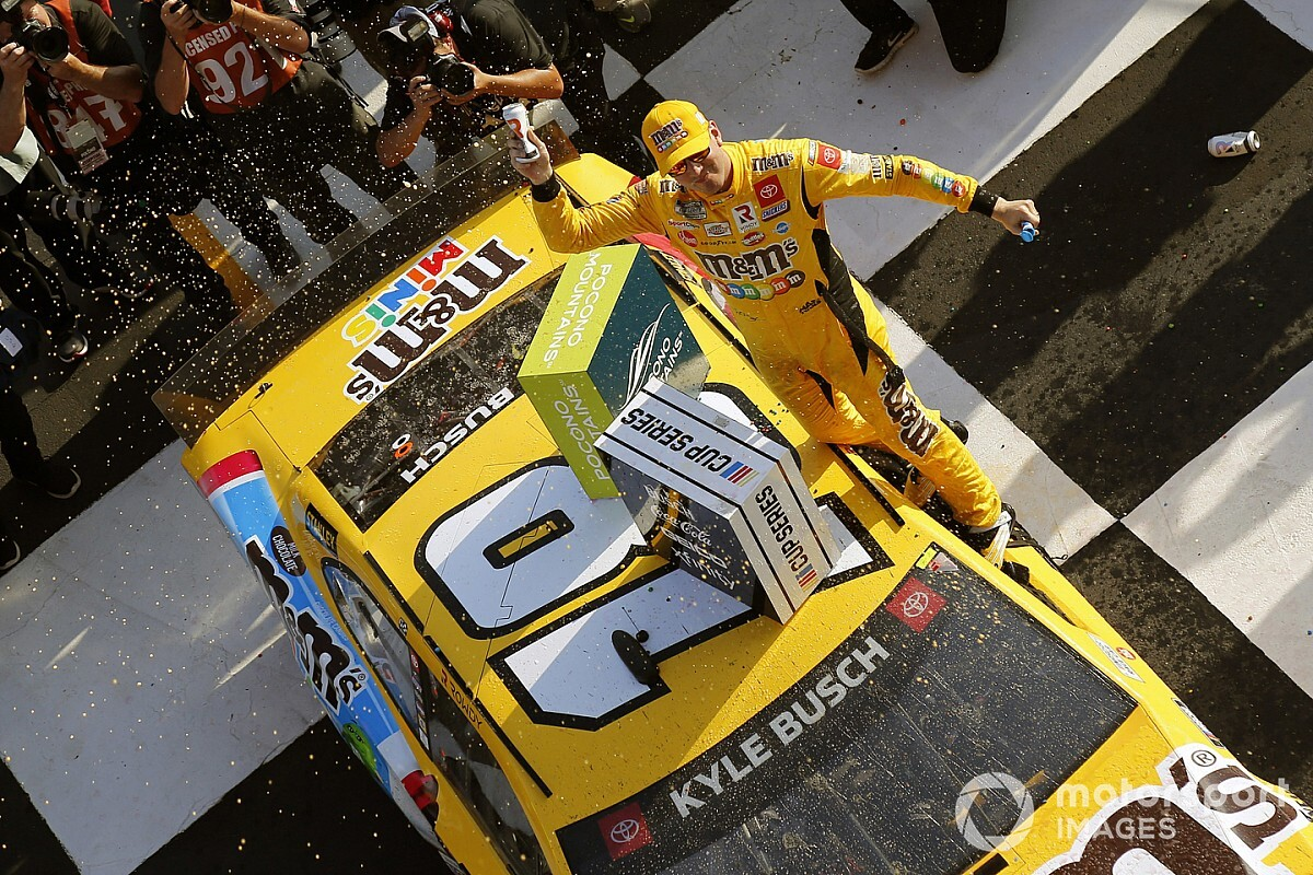 NASCAR Cup Pocono: Kyle Busch wins whereas low on gas, caught in fourth - Motor Informed