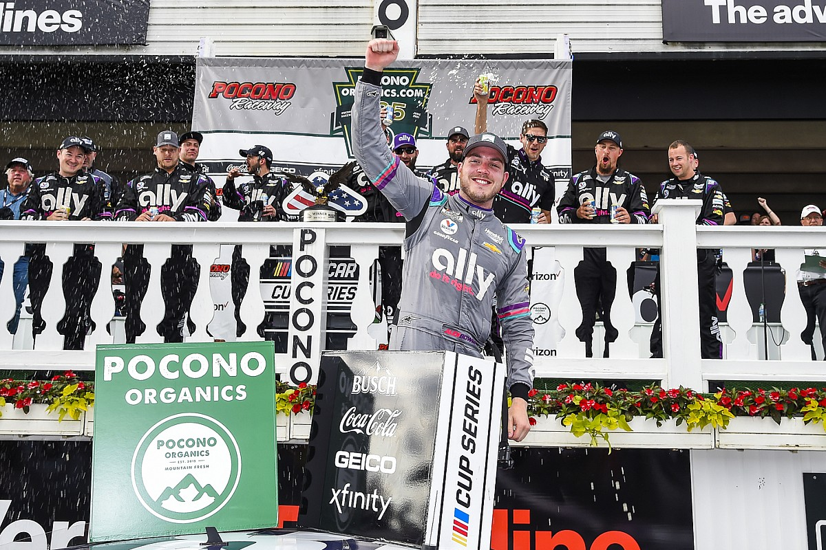 NASCAR Pocono: Bowman wins in dramatic end as Larson blows tyre - Motor Informed