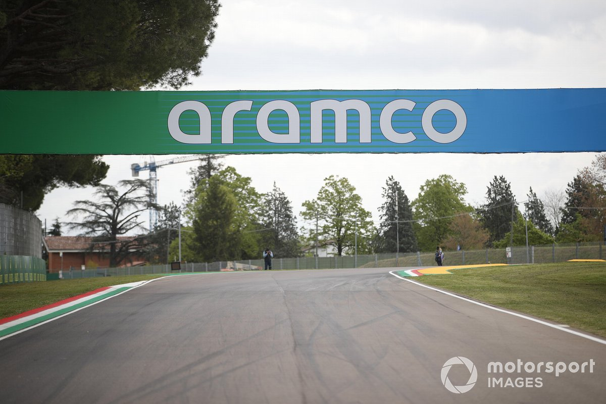 Aramco signage at Imola for F1's 2021 Emilia-Romagna GP