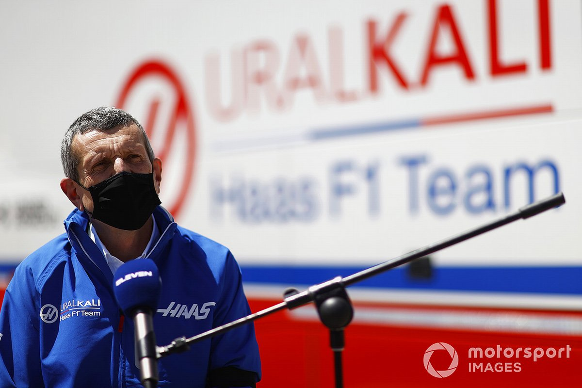 Gunther Steiner, Team Principal, Haas F1 speaks to the media