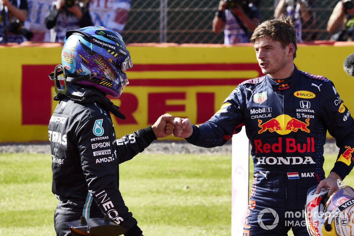 Lewis Hamilton congratulates Max Verstappen after the Red Bull driver's sprint race victory