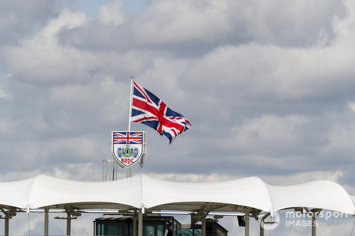 The Union flag flies over the BRDC club house