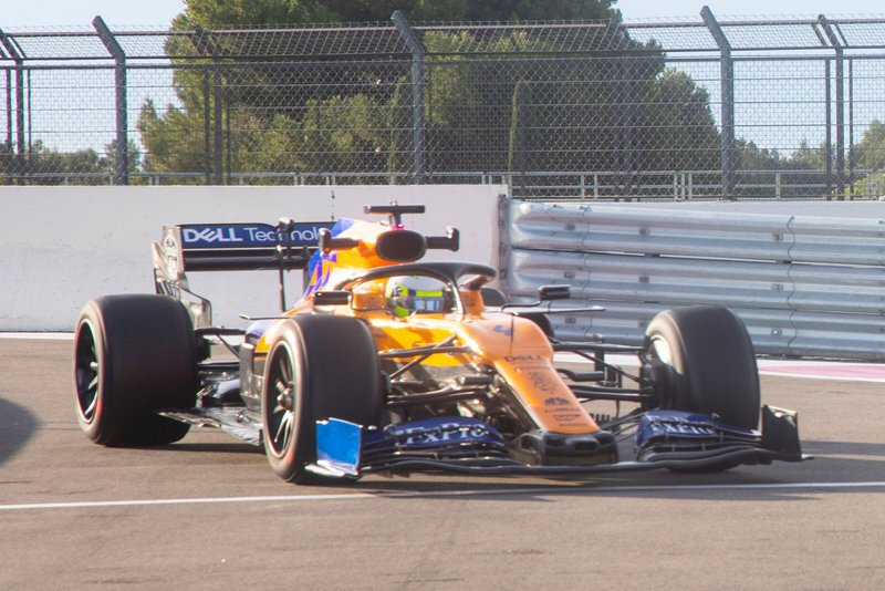 Lando Norris testing the 18-inch tyres, late 2019