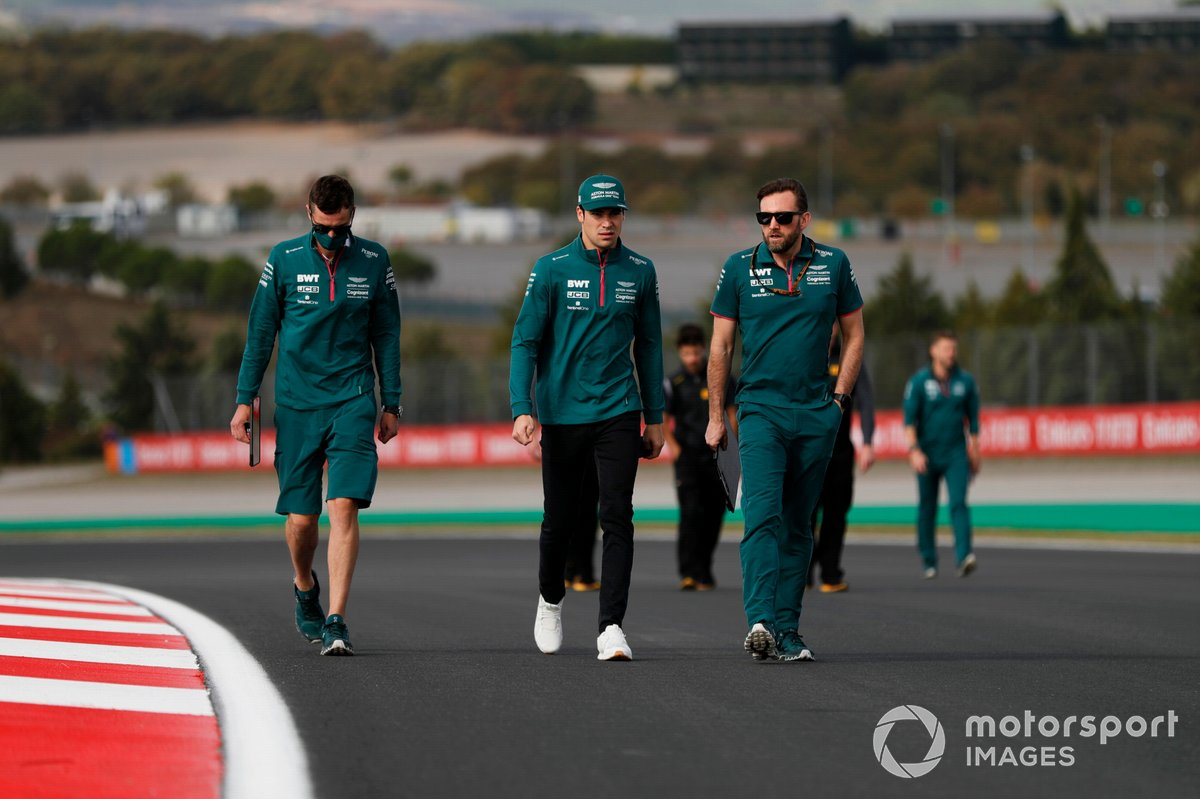 Lance Stroll, Aston Martin, walks the track
