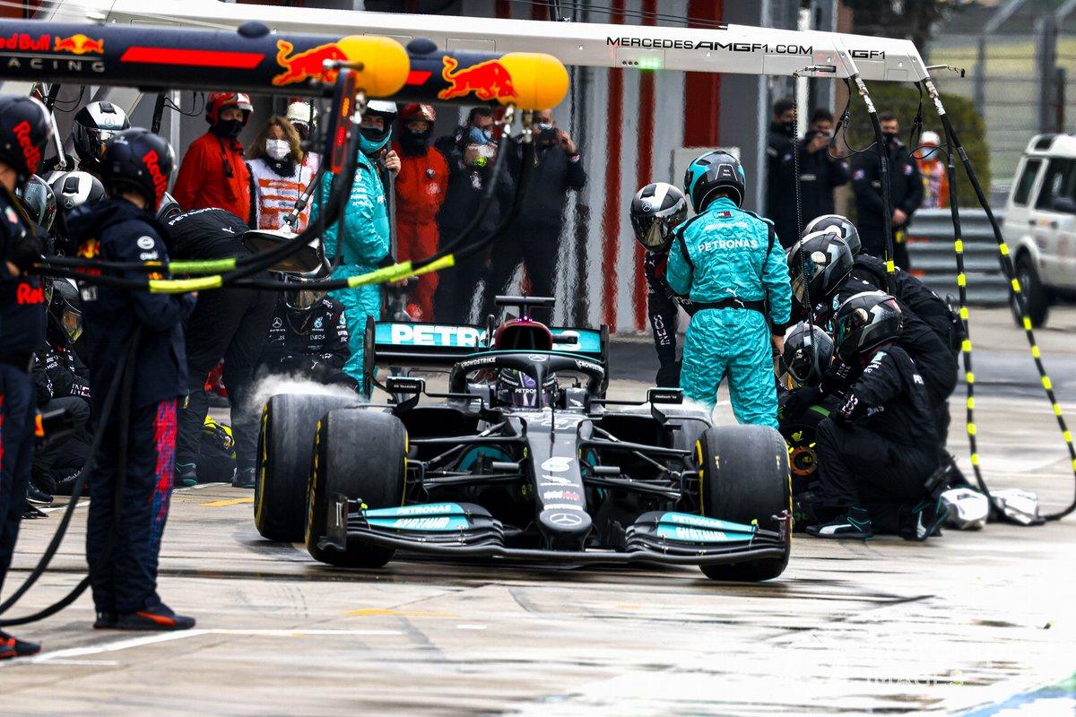 Lewis Hamilton, Mercedes W12, leaves his pit box