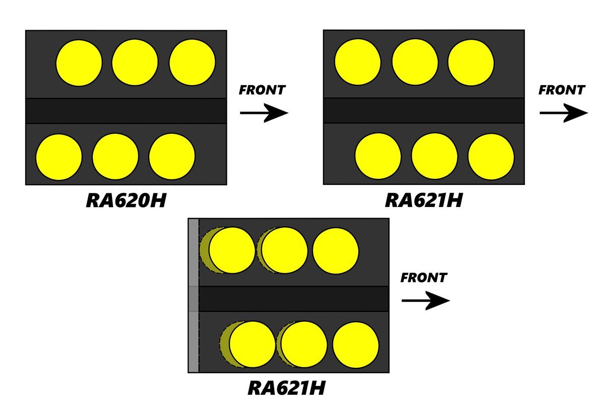 Honda RA620H vs RA621H cylinder spacing