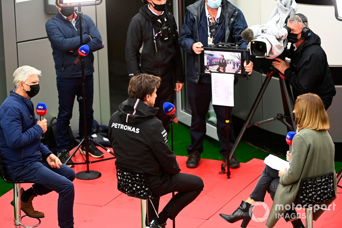 Damon Hill interviews Toto Wolff, Team Principal and CEO, Mercedes AMG, for Sky Sports F1